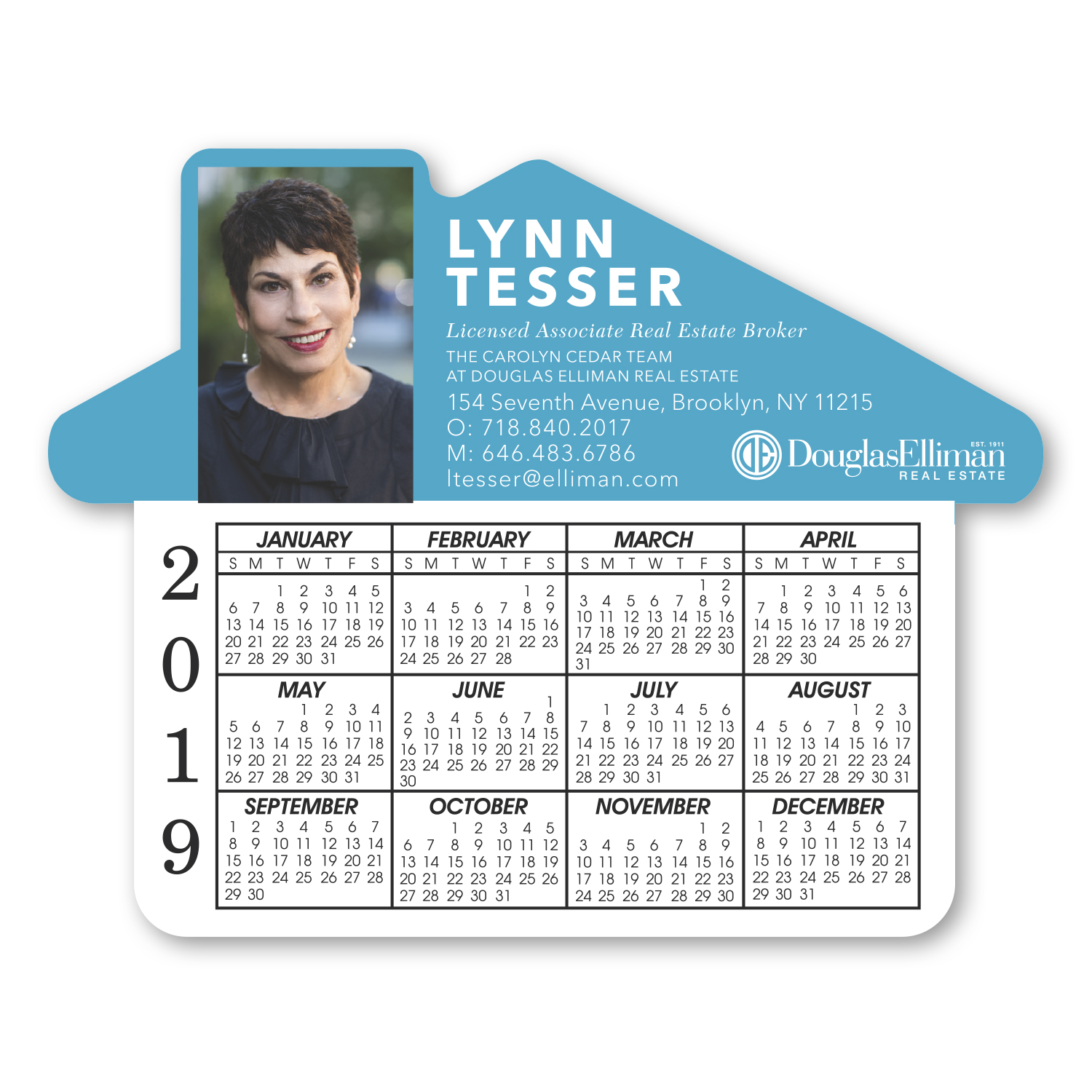 "• S227 Calendar House Magnet, 4.6875"" x 3.75"", .020 thickness  • House shaped magnets with calendar that were given out to her clients."