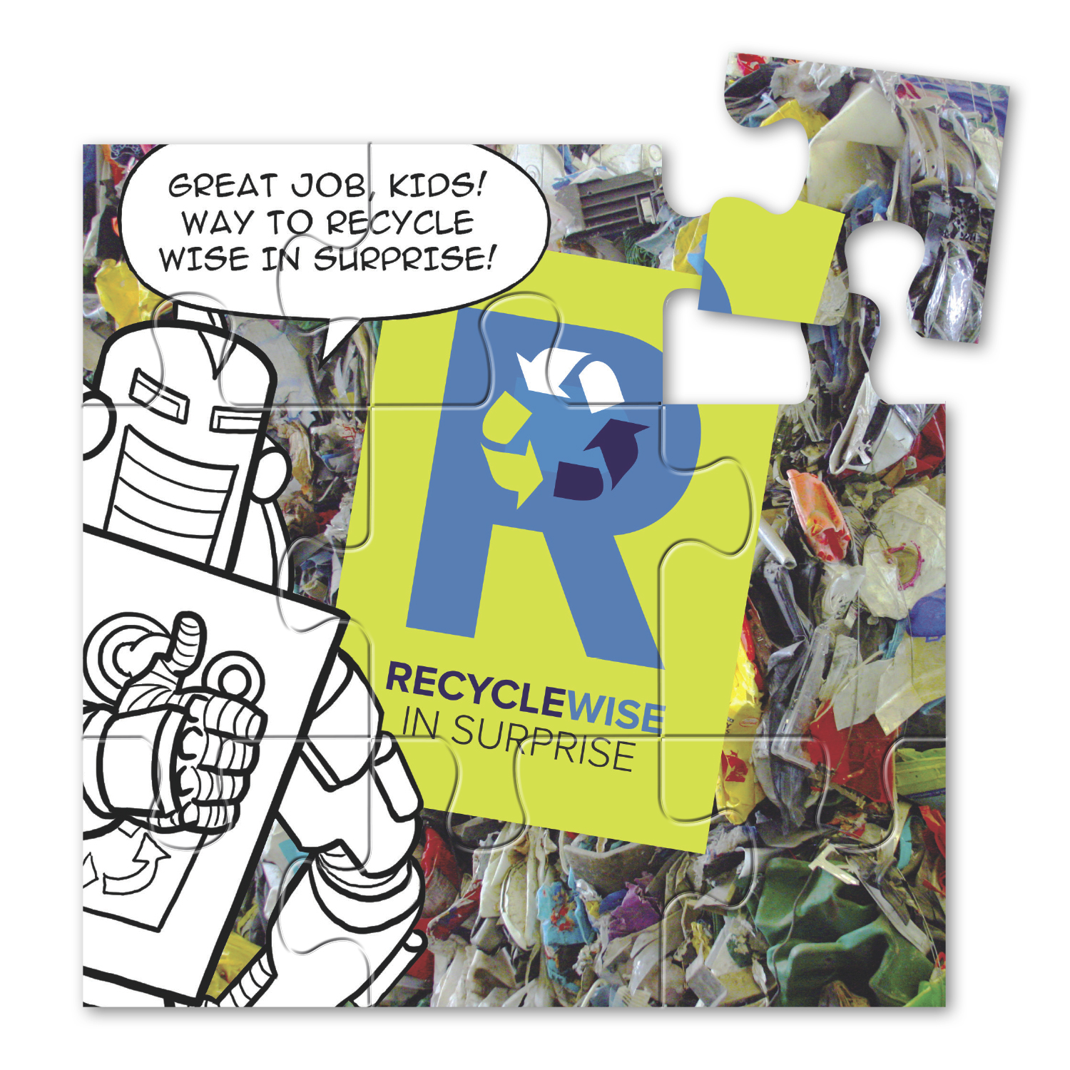 "• WORD09 Puzzle Magnet, 5.375"" x 5.375"", .020 thickness  • 1,000 magnets being given out to kids in Surprise, AZ to raise awareness on the importance of recycling."