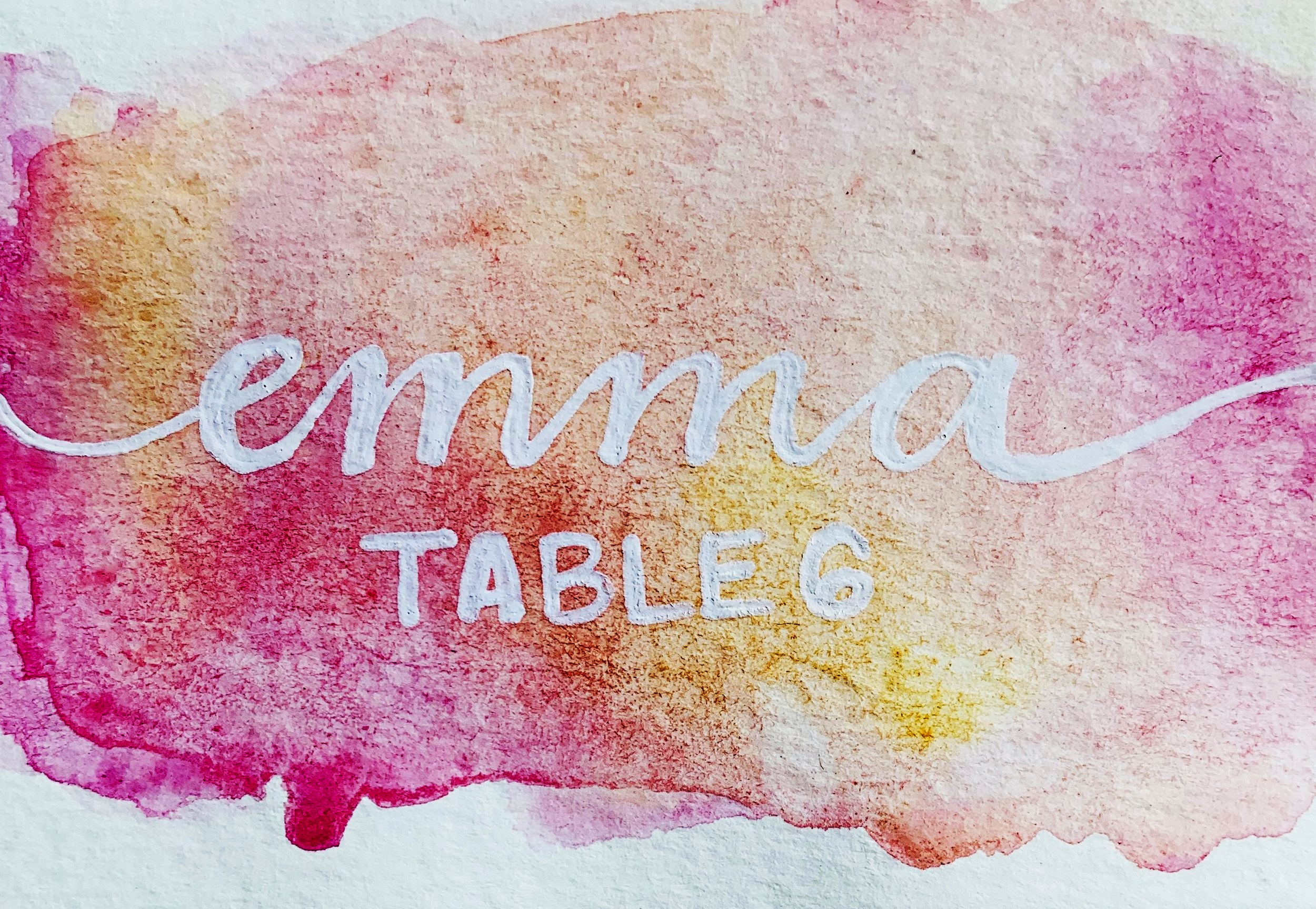 Watercolor place card with gel pen lettering