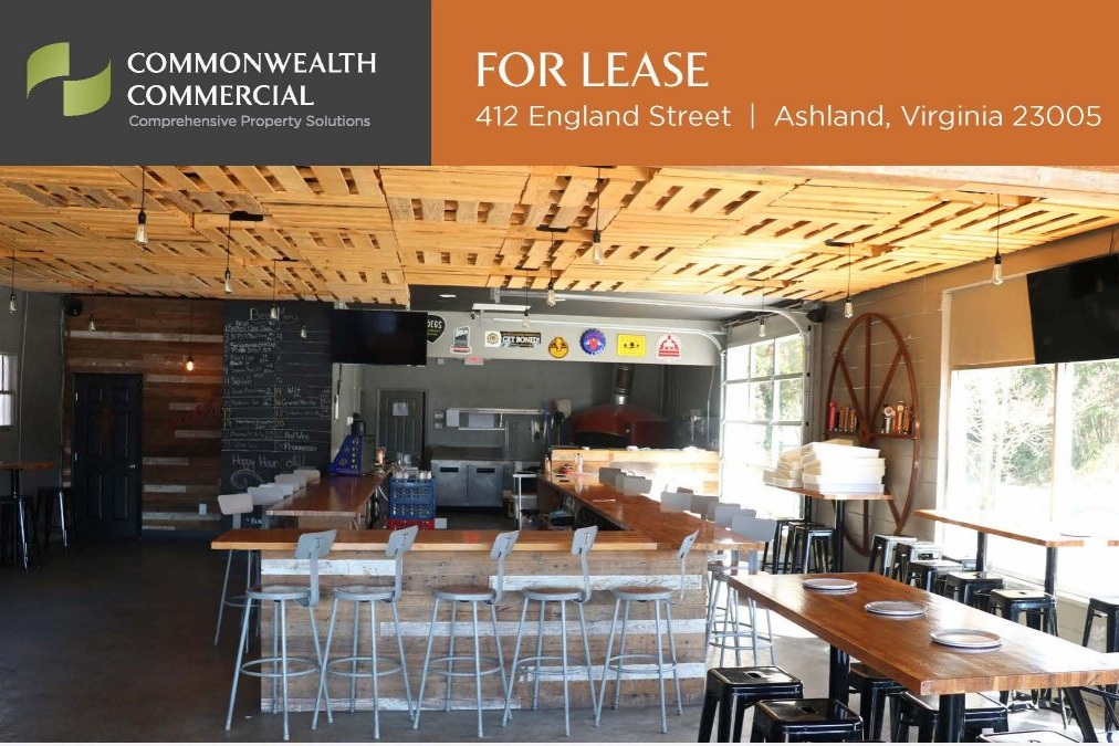412 England Street (formerly Tap900) - For Lease1,920 Sq Ft second generation restaurantGreat visibility across from Ashland Town CenterContact: Michael Morris(804) 793-0053mmorris@commonwealthcommercial.com