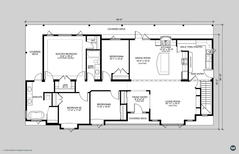 "The Hampton A   2,088 sq ft  - 4 Bedroom - 2 Baths  - 69'-6"" x 35'-2"" footprint  Alternate Floorplan"