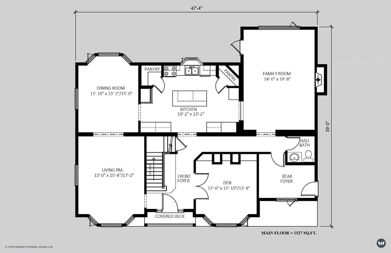The Cantebury - Main Floor  3,024 sq ft  Standard Floorplan