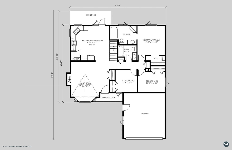 The Kensington  1,302 sq ft  Standard Floorplan
