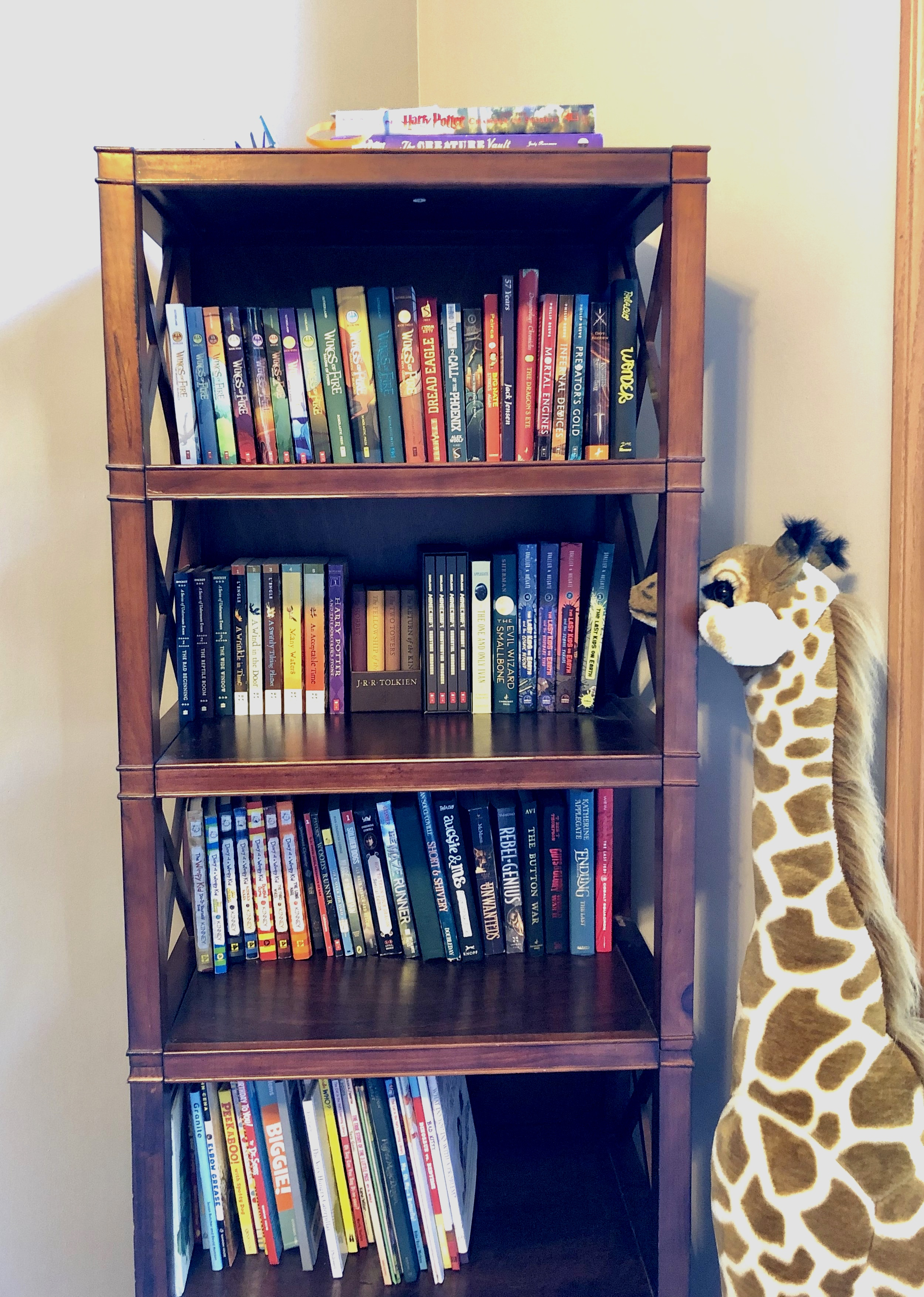 One of two tall bookcases used for overflow storybooks and chapter books. Bob the giraffe acting as resident librarian.