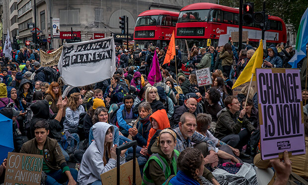 Animal Rebellion set up camp in central London. Photograph: Future Hackney