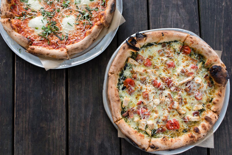Classic Margherita + Chicken Pesto