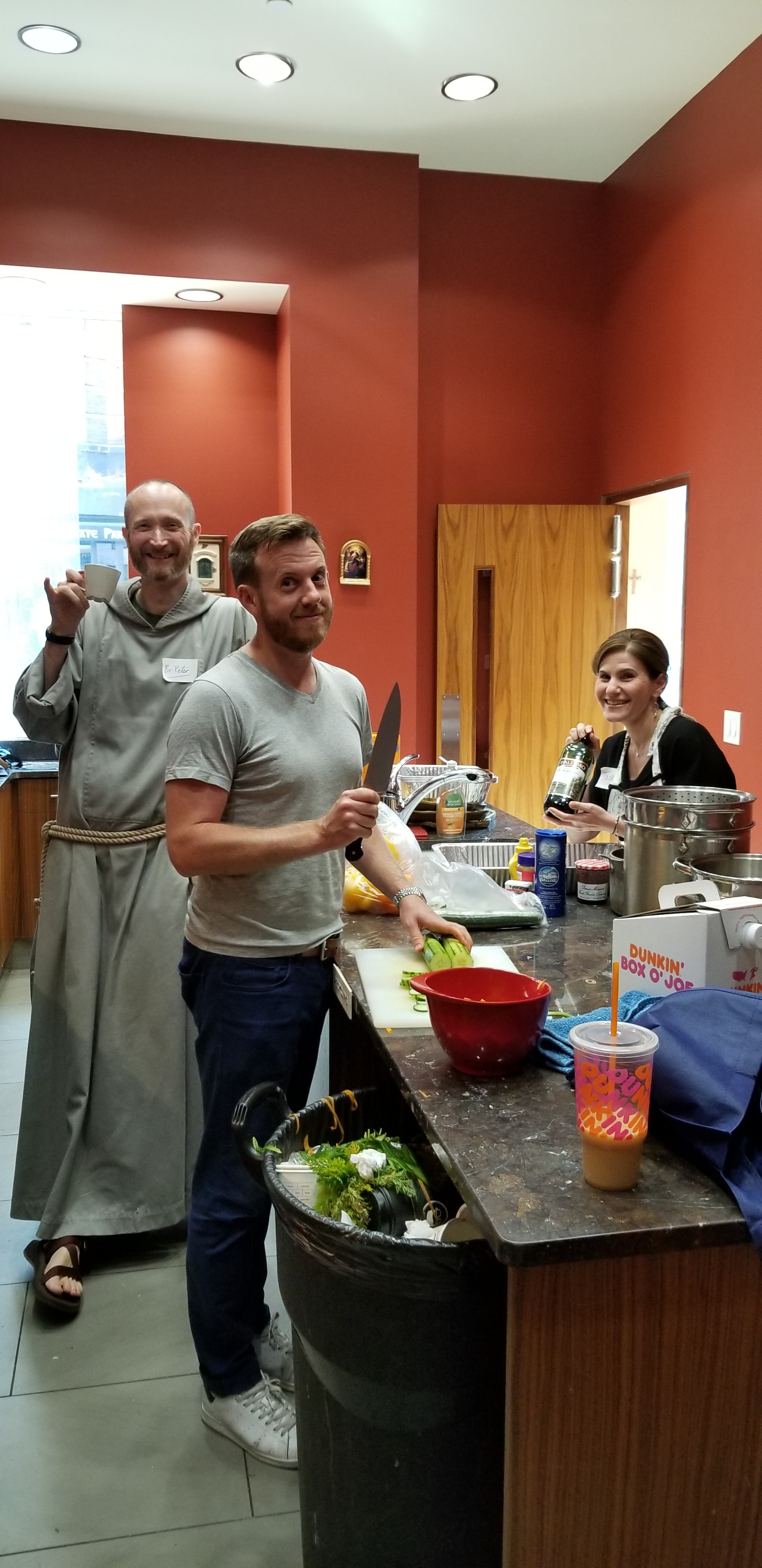 Here's the team working and…having fun in the kitchen!