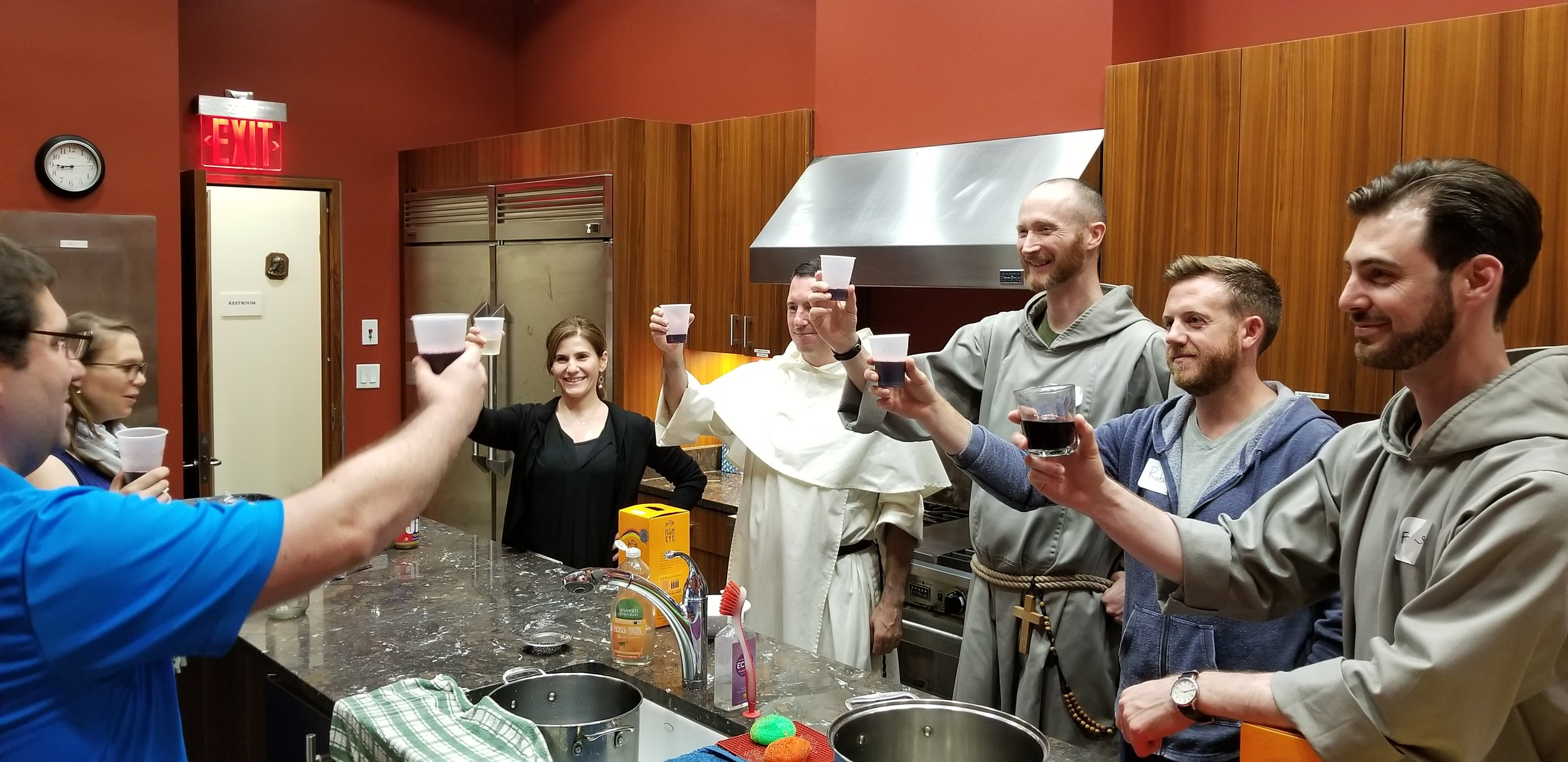 We had time for celebration with some wine too (a first for a Recovering Origins retreat)….lots of joy doing the Lord's work…here we are toasting the Lord …