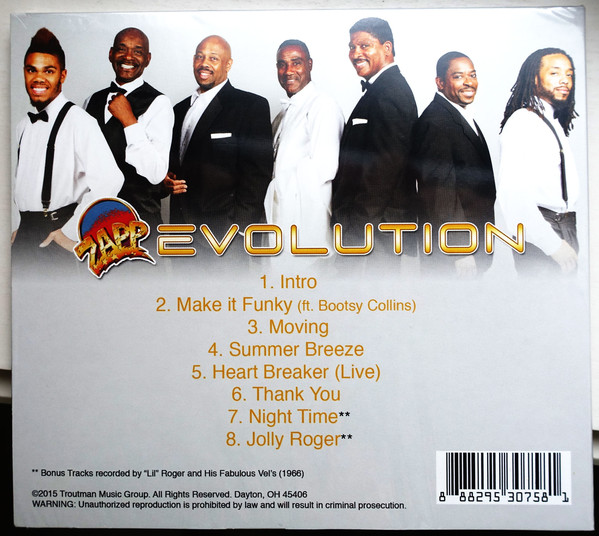 Zapp ‎– Evolution   Label: Troutman Music Group ‎– 7581  Format: CD, Mini-Album  Country: US  Released: 01 Aug 2015  Genre: Funk / Soul  Style: Funk