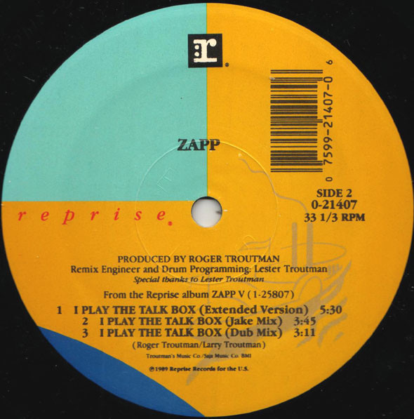 Zapp ‎– I Play The Talk Box   Genre: Funk / Soul  Style: RnB/Swing  Year: 1989