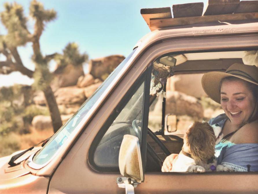Sarah Ernst in her van