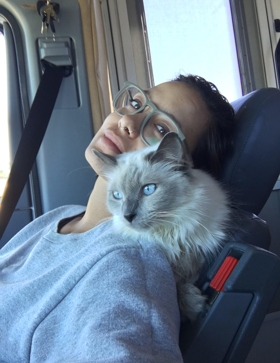 Vanessa Semrow with their cat