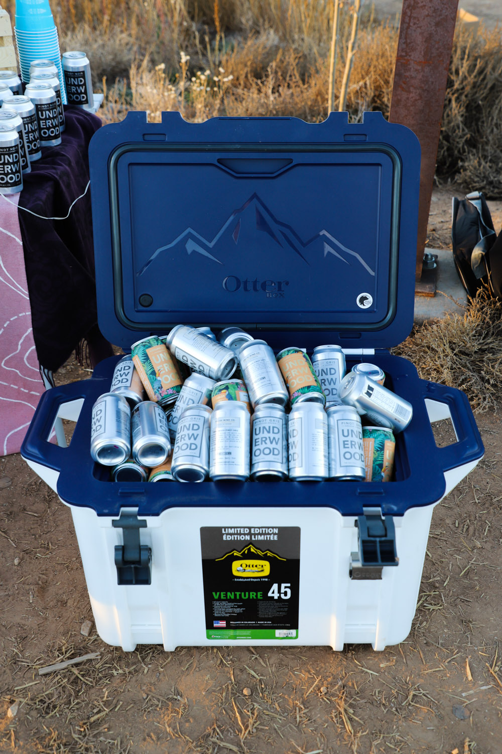 An Otterbox CVenture 45 cooler full of Union Wine's Underwood Pinot Gris and Riesling Radler — photo by Hailey Hirst