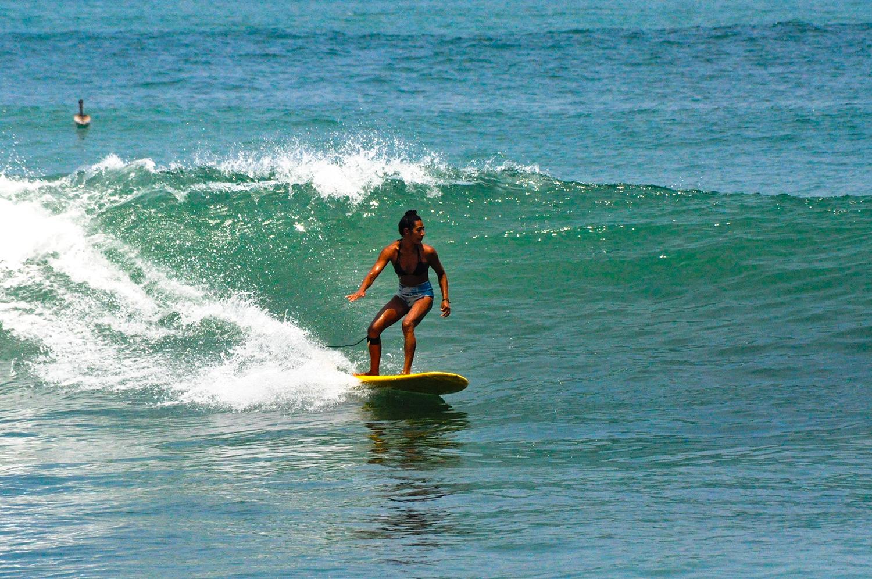 Dani surfing in Oxaca, Mexico