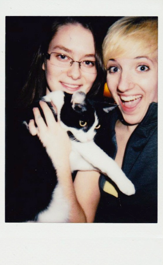 An instant film scan of Kate, Aurora, and Laura circa 2011