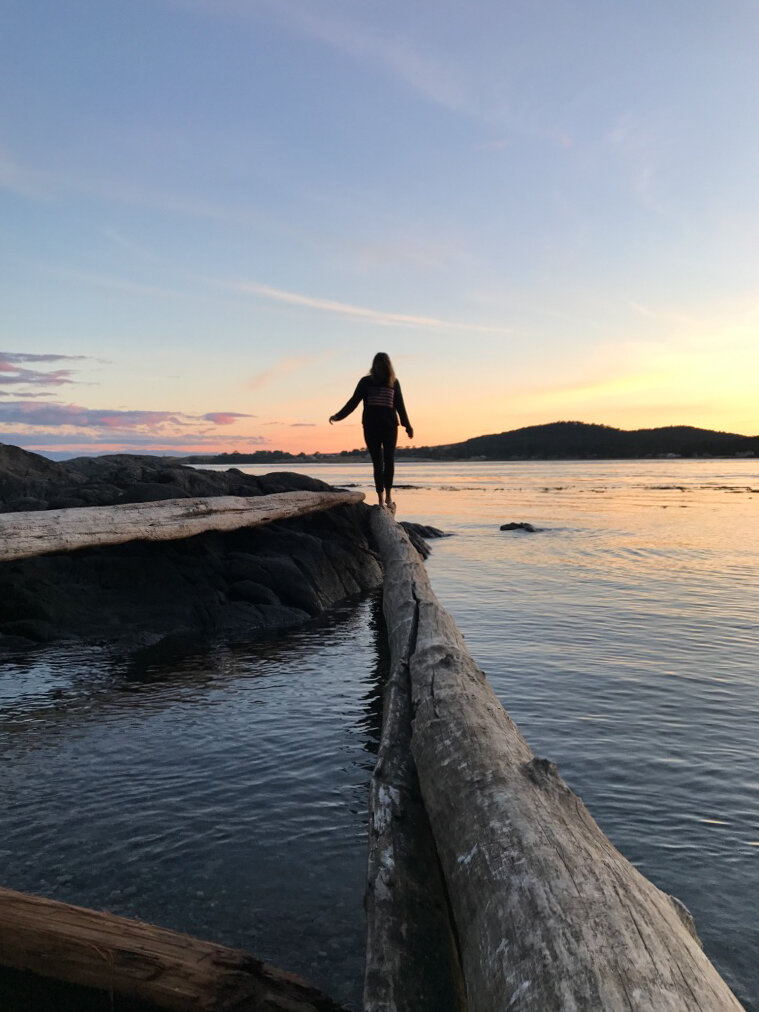 Walking on driftwood in over a reflected San Juans sunset.