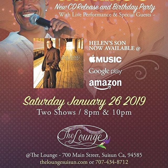 I will be performing January 26th,2019@The Lounge in Suisun City, Ca for 2 shows at 8pm and 10pm. If you want to enjoy some sexy grown folk music come celebrate my Birthday with me as I perform songs from my HELENS SON Album get tickets at www.jayking.me https://youtu.be/aBpSSYJoJZ0