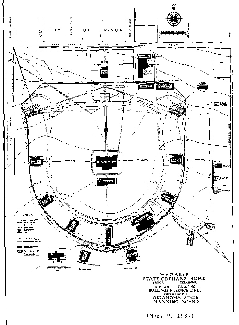 A plan of Whitaker State Children's Home, 1937