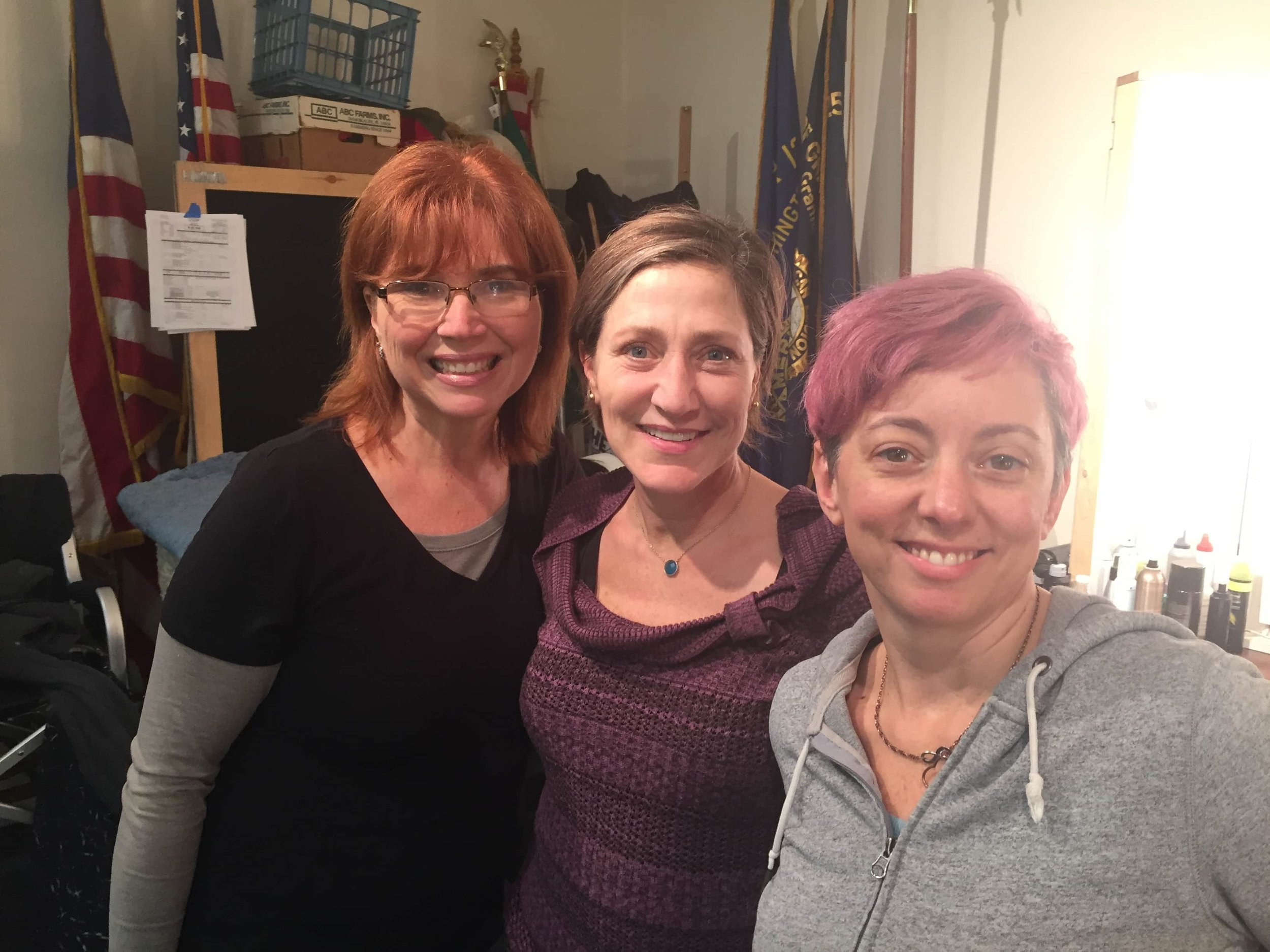 Nancy Leonardi (Hair) and I with Edie Falco during the filming of Outside In.