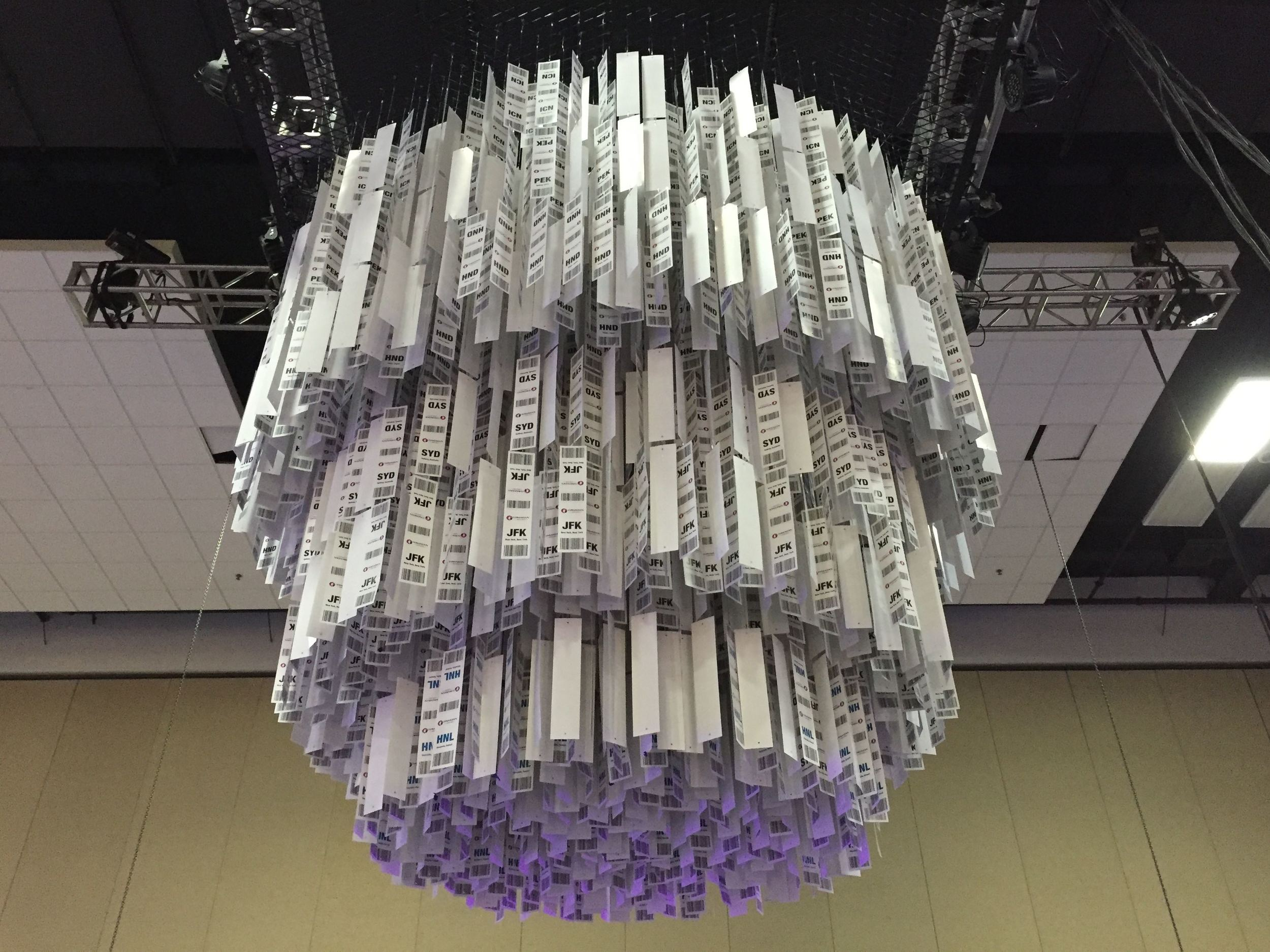 As a main focal element, the chandelier was suspended 16.5' in the air.