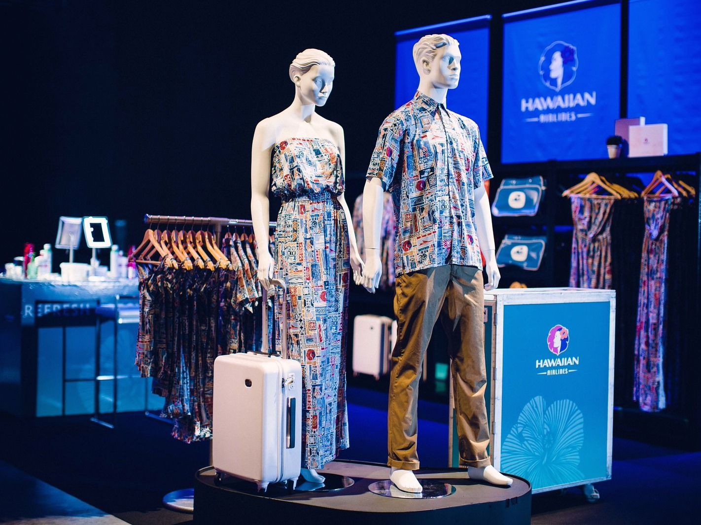 Mannequins dressed in the Heritage collection featuring designs by Tori Richards.