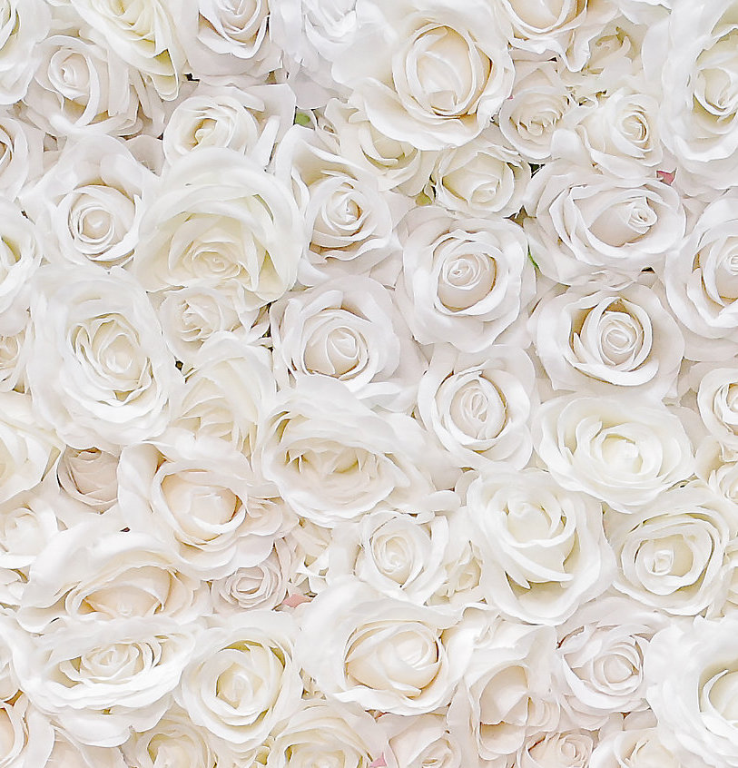 Roses were hand-applied and feature blooms in various sizes to create an organic and realistic look.