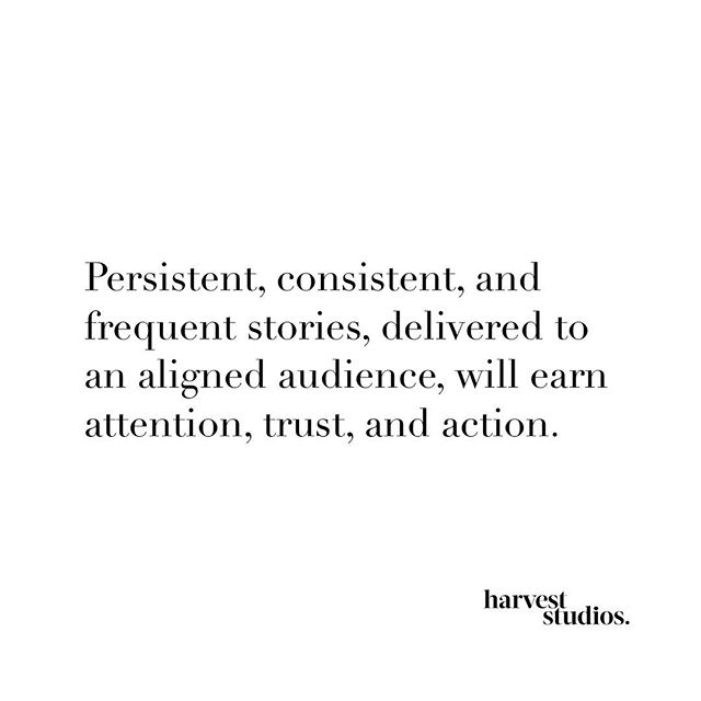 It really is that simple ⚡️ Write this down, tattoo it on your skin 😉 & shout it from the rooftops if IMPACT is your 2019 goal:⠀ ⠀ Consistency + Storytelling + Target Audience⠀ = ⠀ Trust + Sales + Brand Loyalty⠀ ⠀ 💬 Quote via @sethgodin's This Is Marketing | @audible⠀ ⠀ #harveststudios⠀ #socialmediamarketing