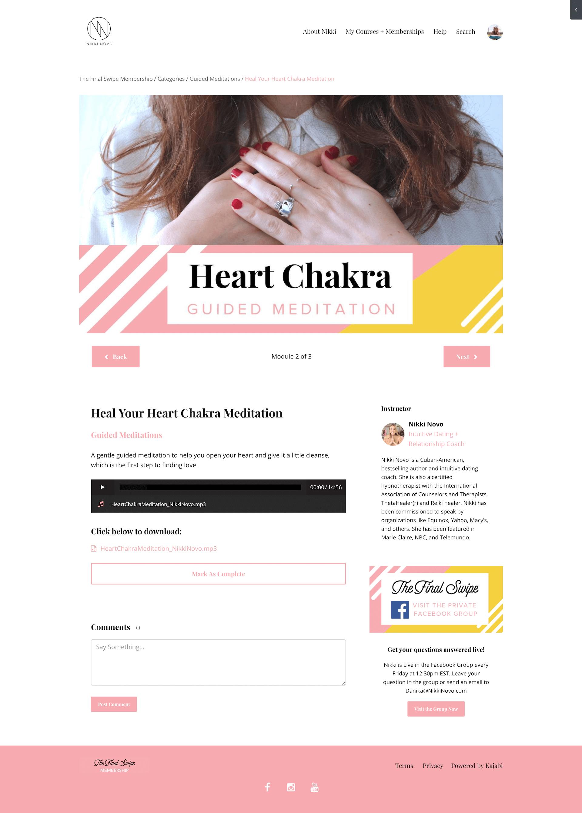 Kajabi Customization for Intuitive Dating Coach, Nikki Novo. © 2019 Awake Website Design.