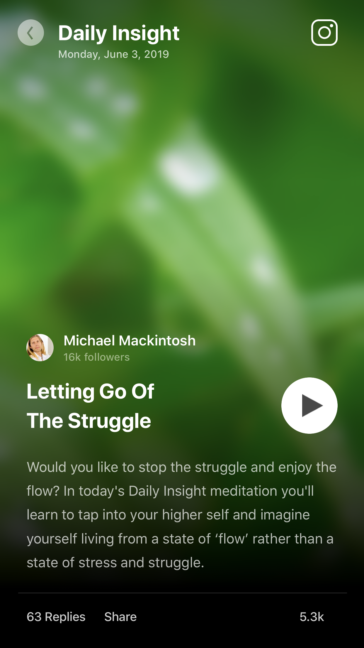 Letting Go of the Struggle     :   Guided Meditation by Michael Mackintosh on the  Insight Timer  app.