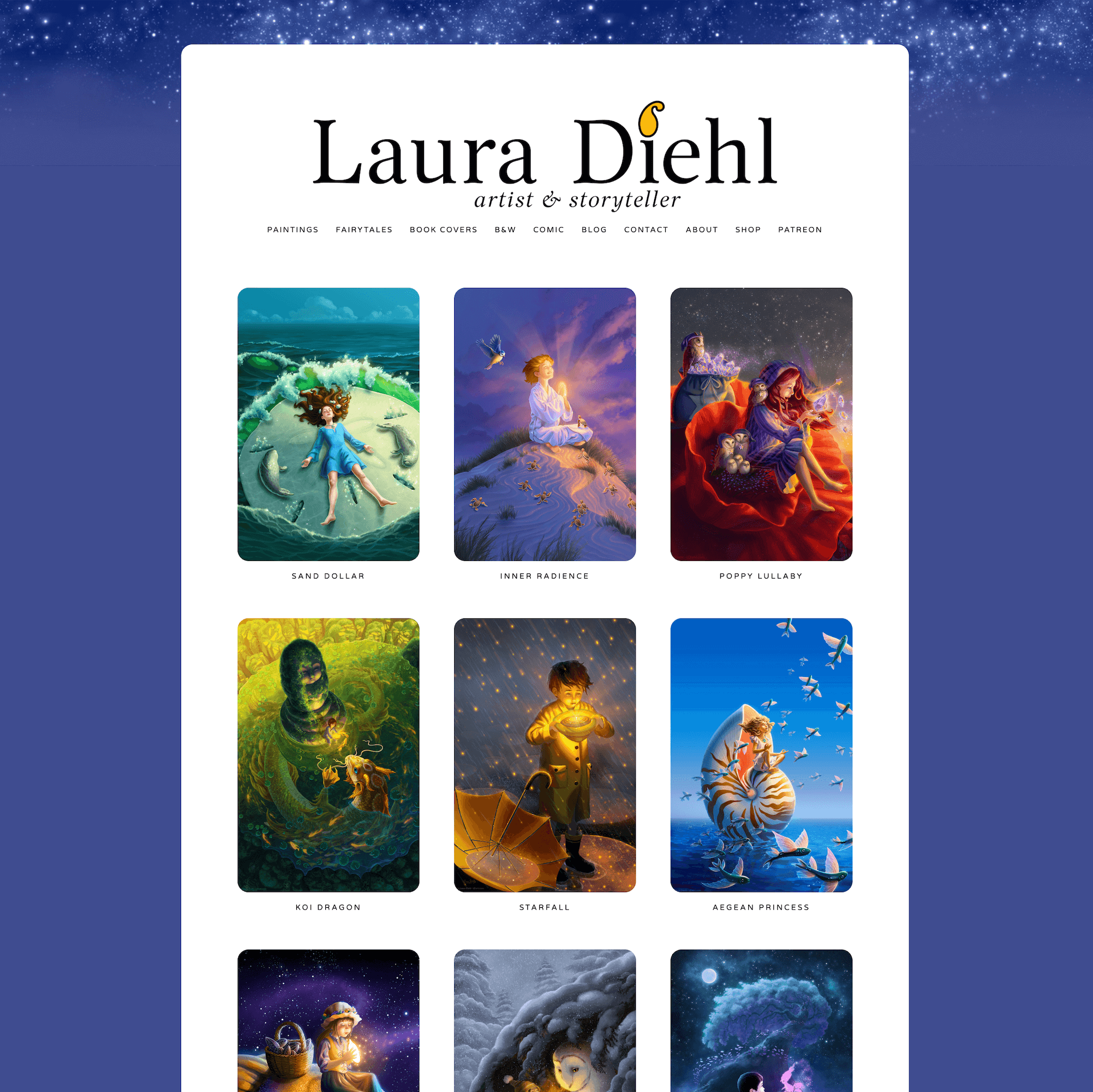 Screenshot of  Laura Diehl's website  home page.