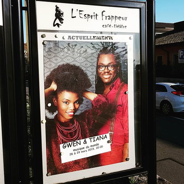 It's tonight @ l'Esprit Frappeur! Can't wait to see you!  #gwentiana #duo #singer #ontheroad #africantime #lutry #jazz #world #soul #concert #switzerland #melanine #african #gabon #cameroon #madagascar #senegal