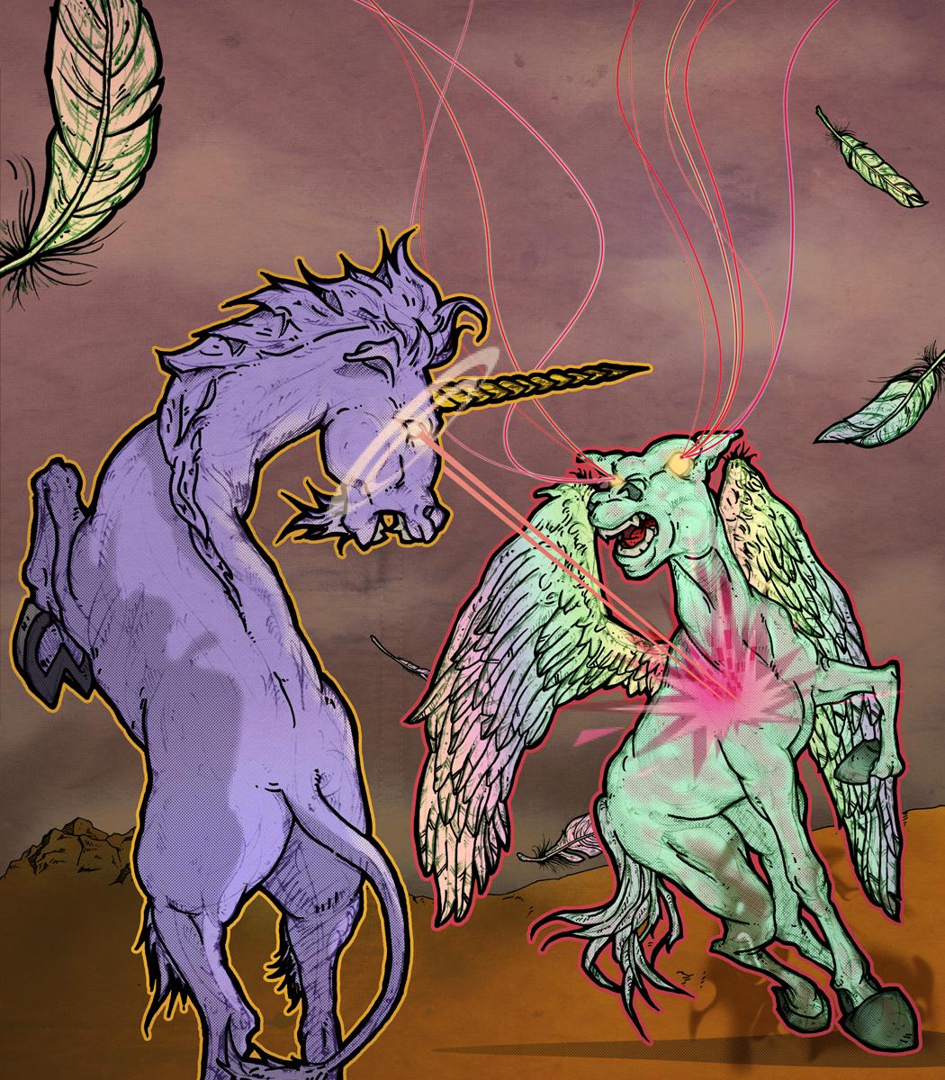 Flying pegasus Vs a unicorn