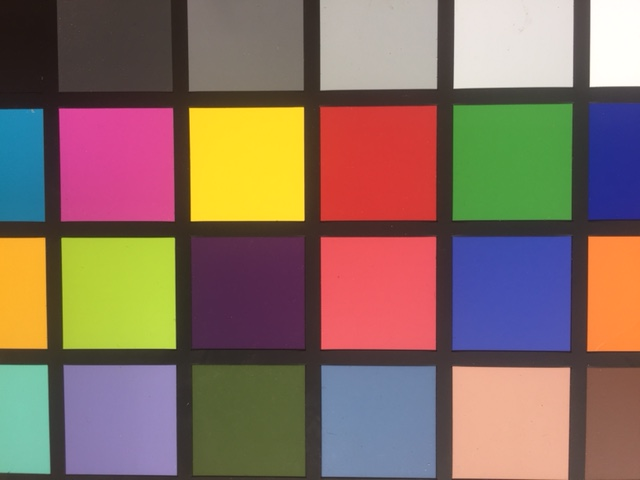 A series of squares of different colors used as a color checker for photography