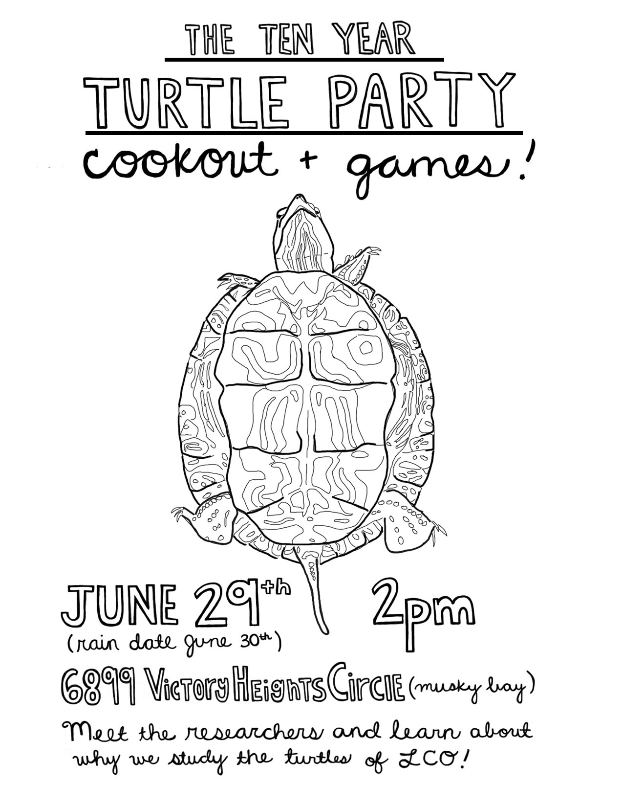 The Ten Year Turtle Party Cookout and Games. June 29th, 2pm (rain date June 30th). Meet the researchers and learn about why we study the turtles of LCO!