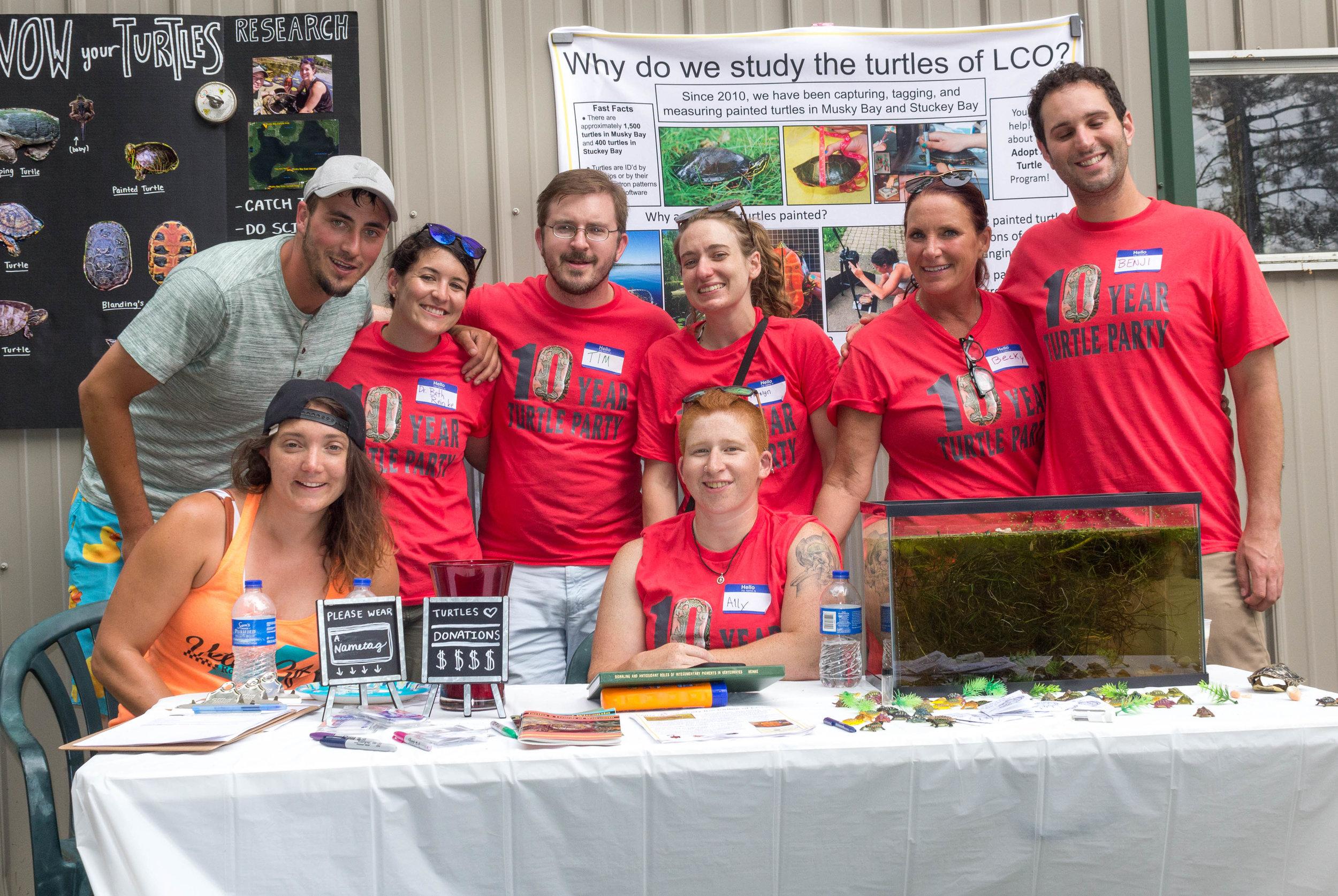 Ten Year Turtle Team wearing matching t-shirts
