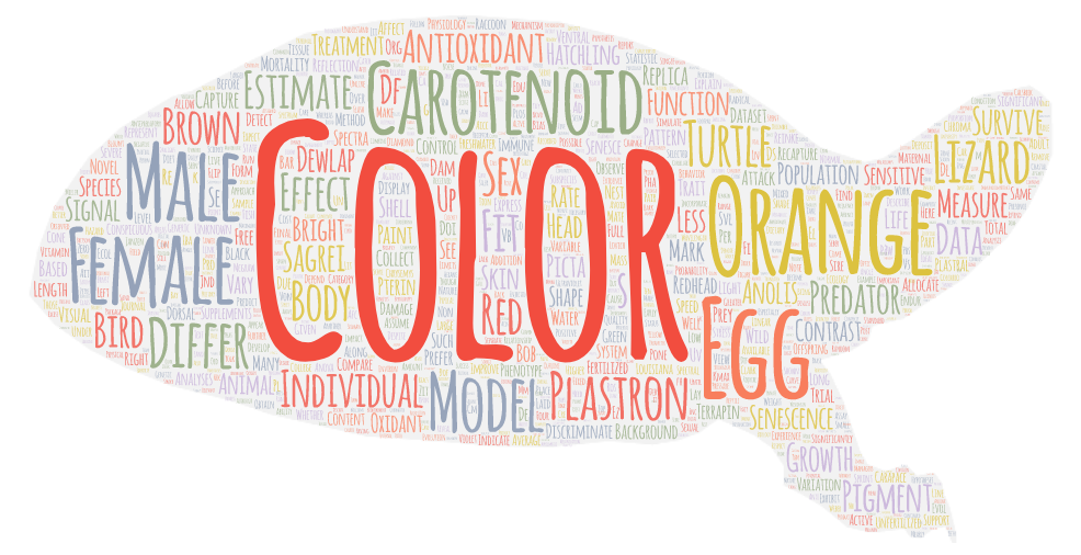 Word cloud made using Reinke Lab publications from 2015-2018. Size of the word is representative of its frequency of use. Words are in the shape of a painted turtle. Made using WordArt.com.