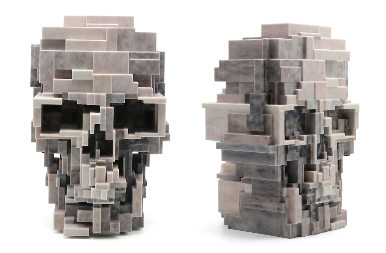 A 3D-Printed Human Skull Created from a Pixelated Watercolor Painting by Adam Lister - COLOSSAL