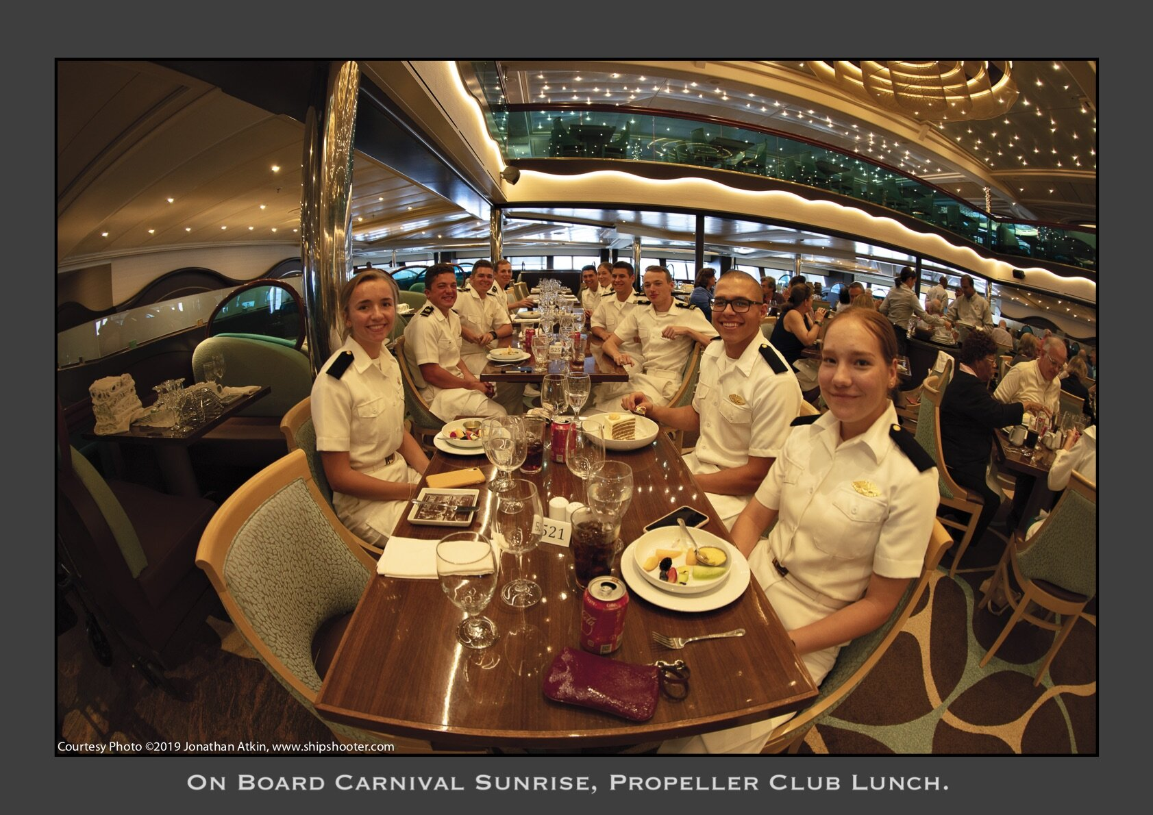 Midshipmen from U.S. Merchant Marine Academy and Cadets from SUNY - Maritime on board Carnival Sunrise for a luncheon on Sept. 22, 2019