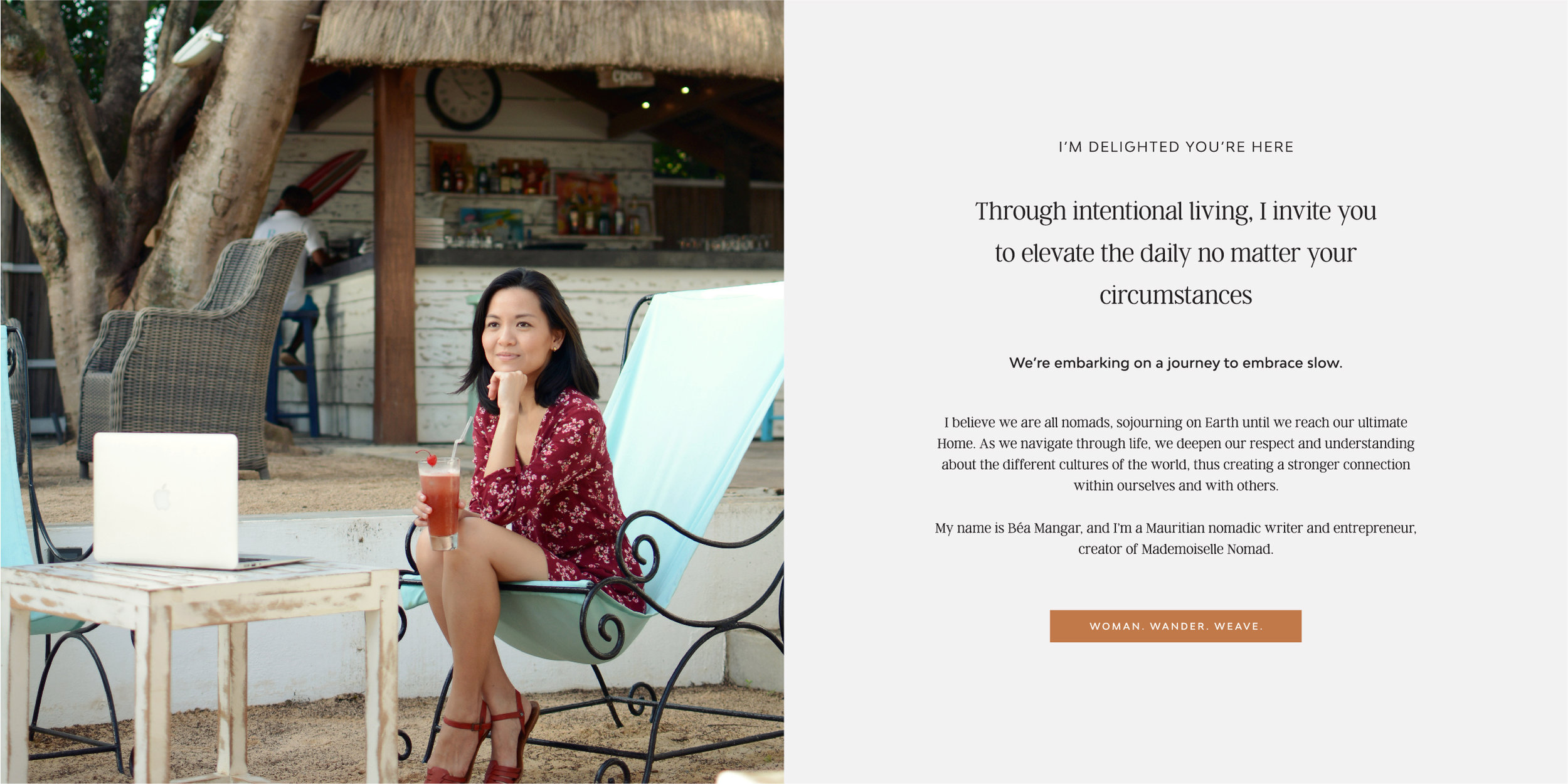 Brand design and development, and strategy, for slow living and lifestyle brand, Beatrice Mangar, Mademoiselle Nomad.