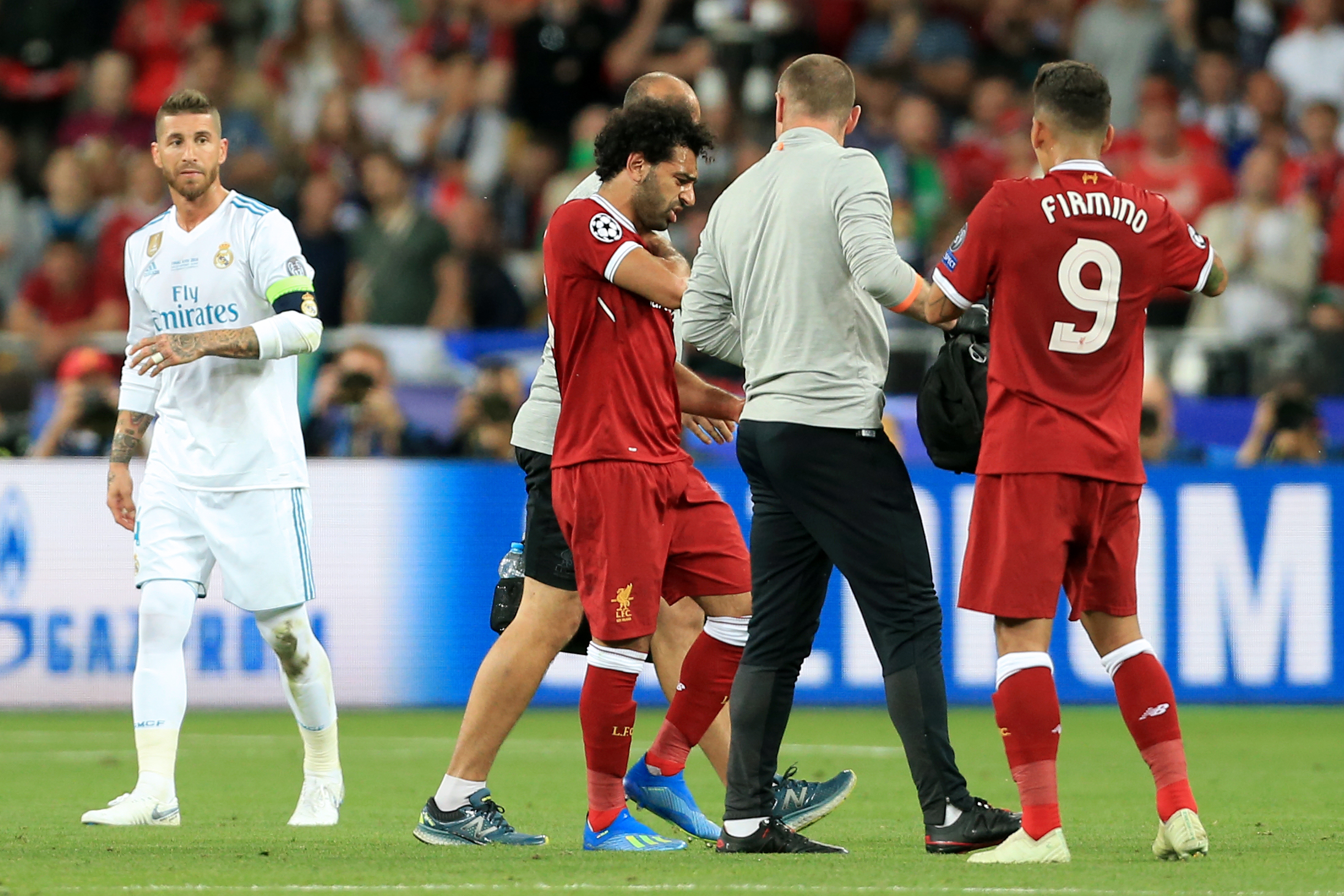 Mohamed Salah leaves the field of play during the 2018 UEFA Champions League final