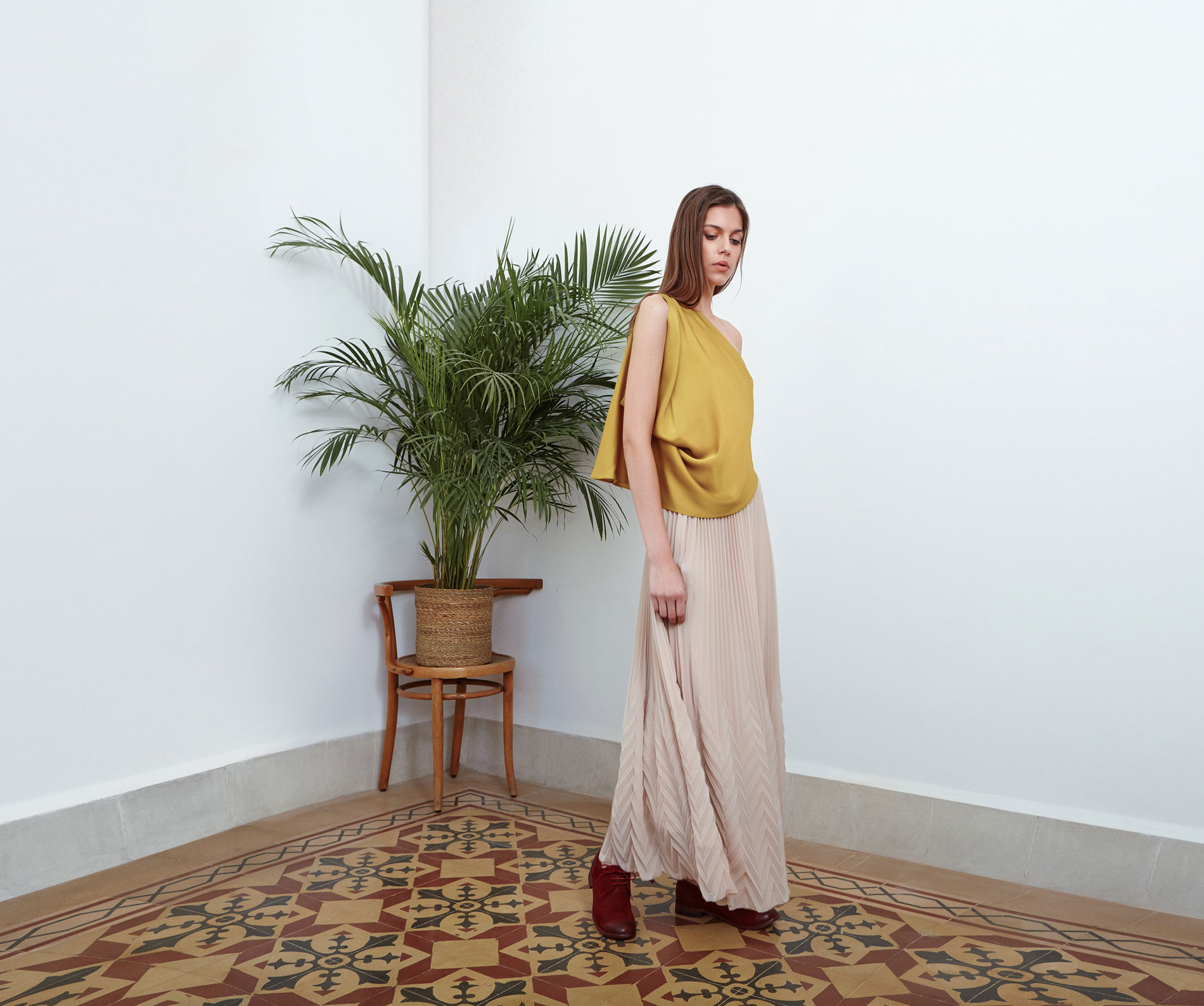 Lara Khoury | Eudemonia Spring 2019 | look 1-1 | Yellow Silk Satin One-Shoulder Top.jpg