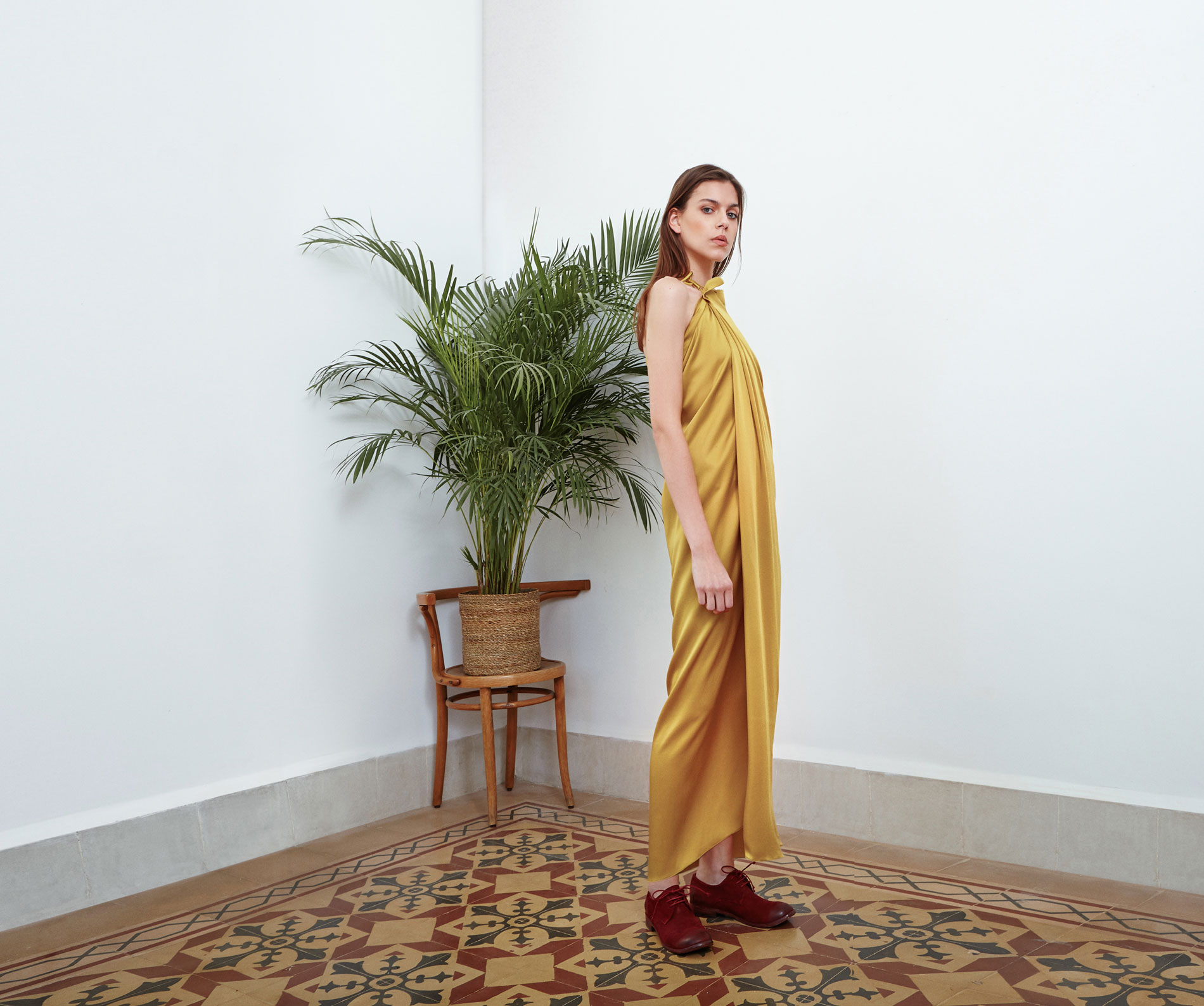 Lara Khoury | Eudemonia Spring 2019 | look 2-1 | Yellow Silk Satin Halterneck Dress.jpg