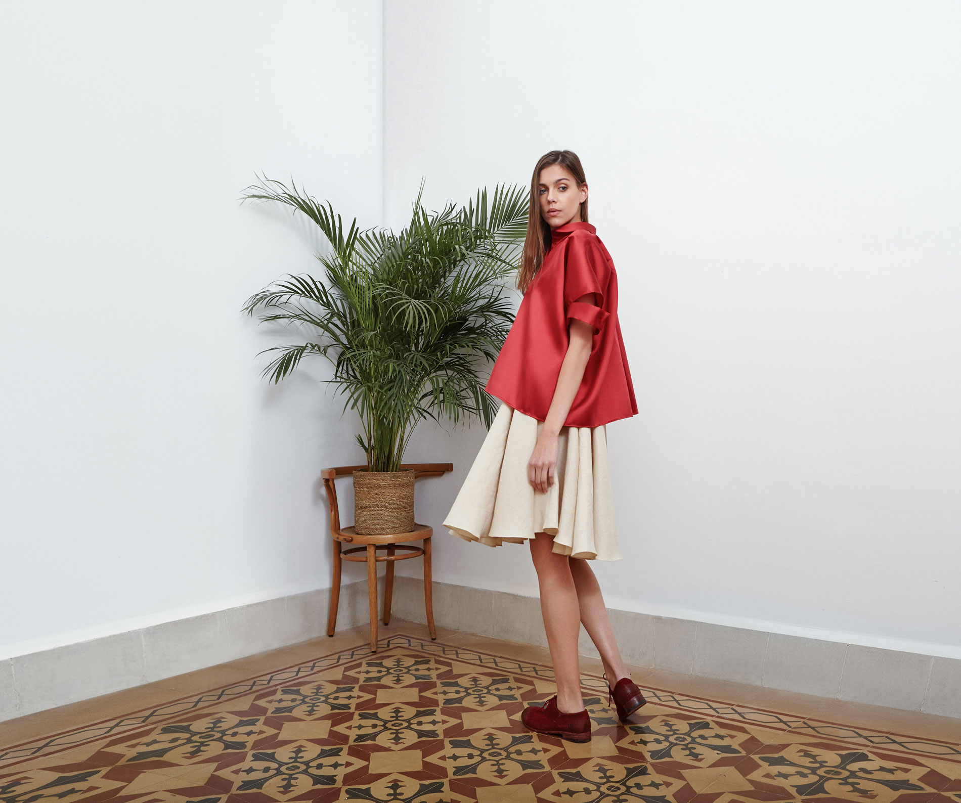 Lara Khoury | Eudemonia Spring 2019 | look 8-1 | Red Silk Shirt With Slash Sleeves.jpg