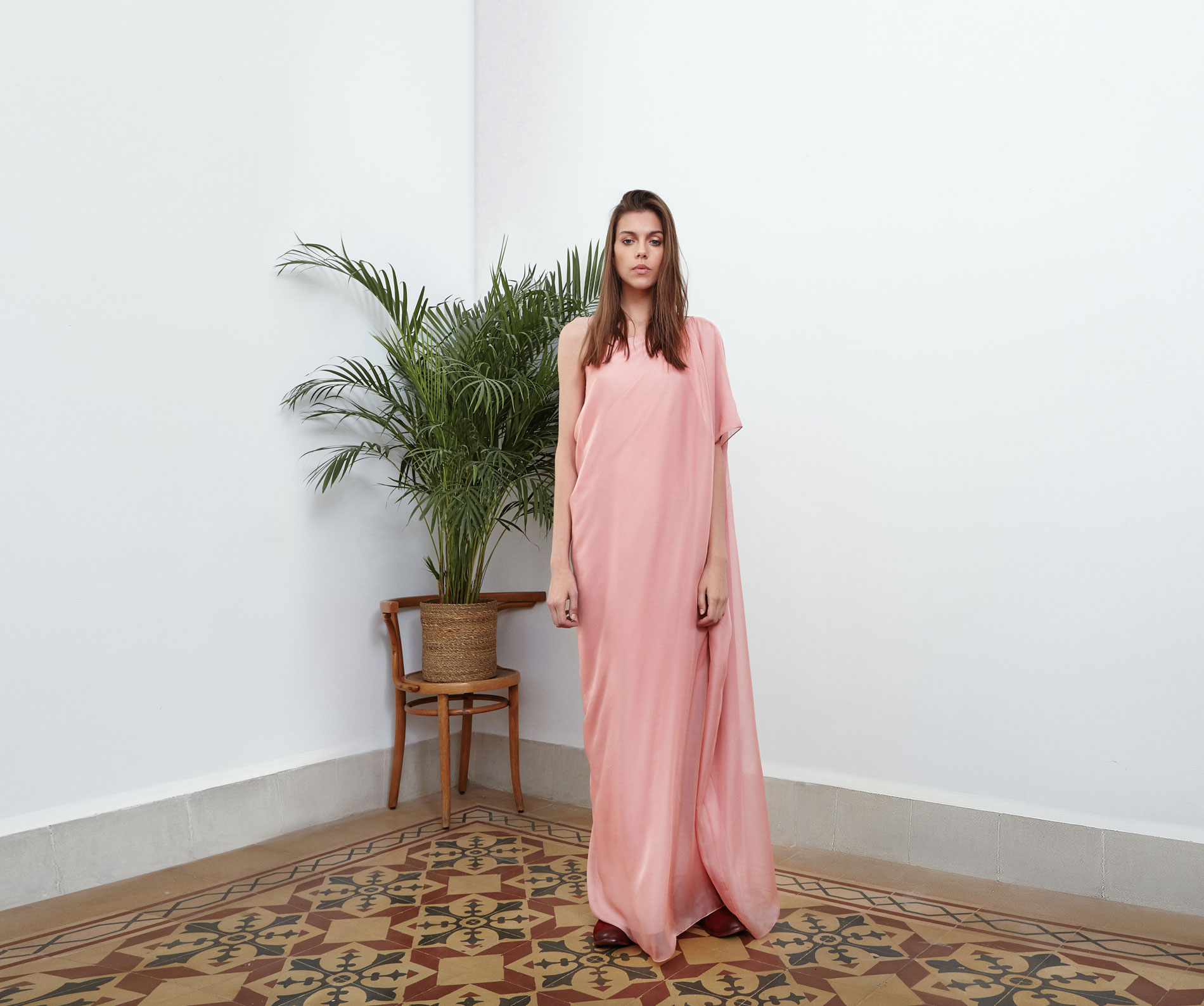Lara Khoury | Eudemonia Spring 2019 | look 11-1 | One-Sleeve Pink Muslin Drape Dress.jpg