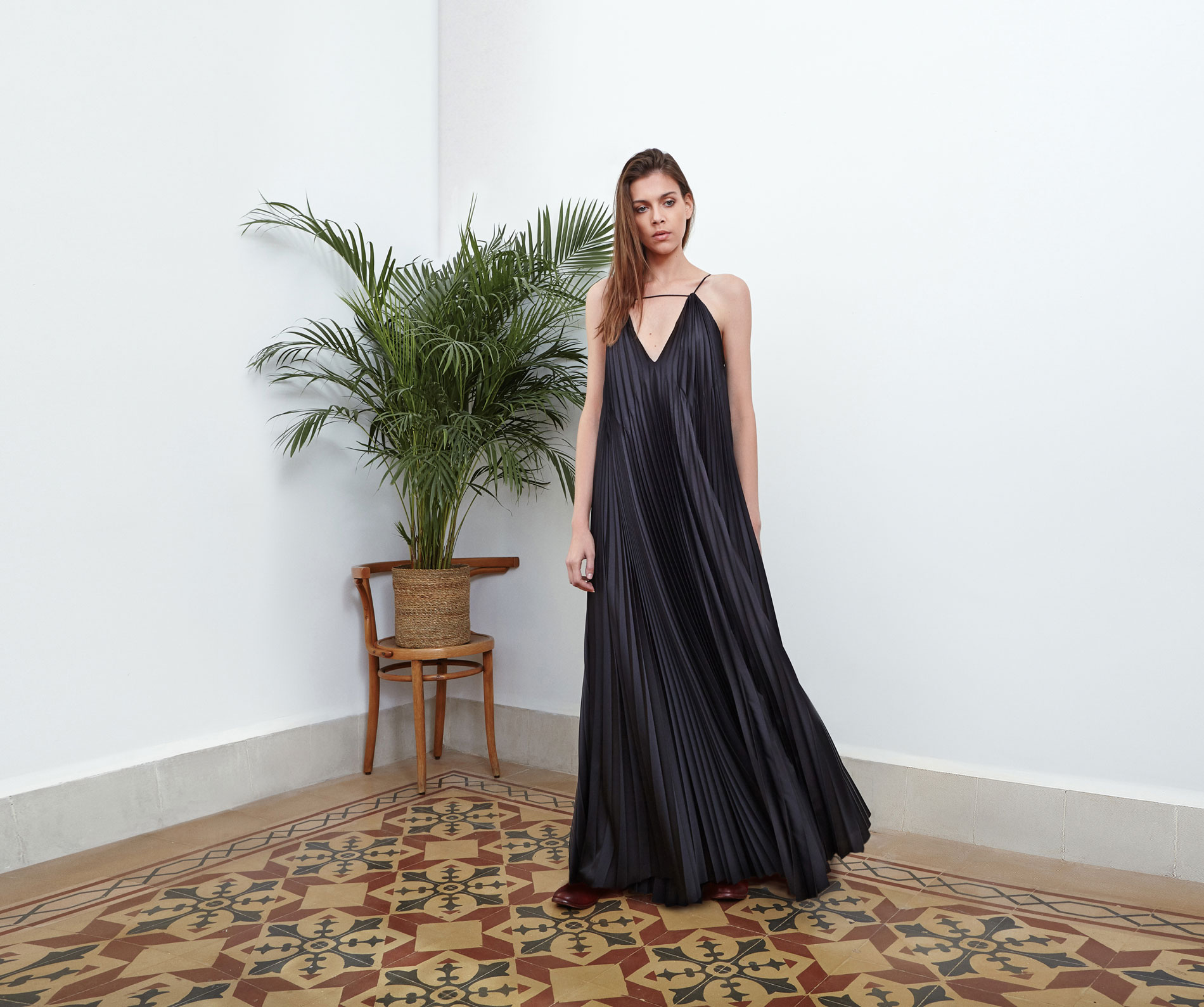 Lara Khoury | Eudemonia Spring 2019 | look 14-1 | Floor-Length Black Charmeuse Pleated Dress.jpg