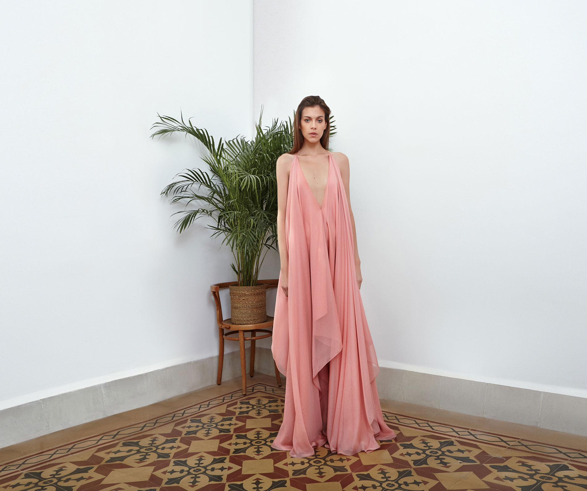 Lara Khoury | Eudemonia Spring 2019 | look 15-1 | Plunge Neck Pastel Pink Muslin Dress.jpg