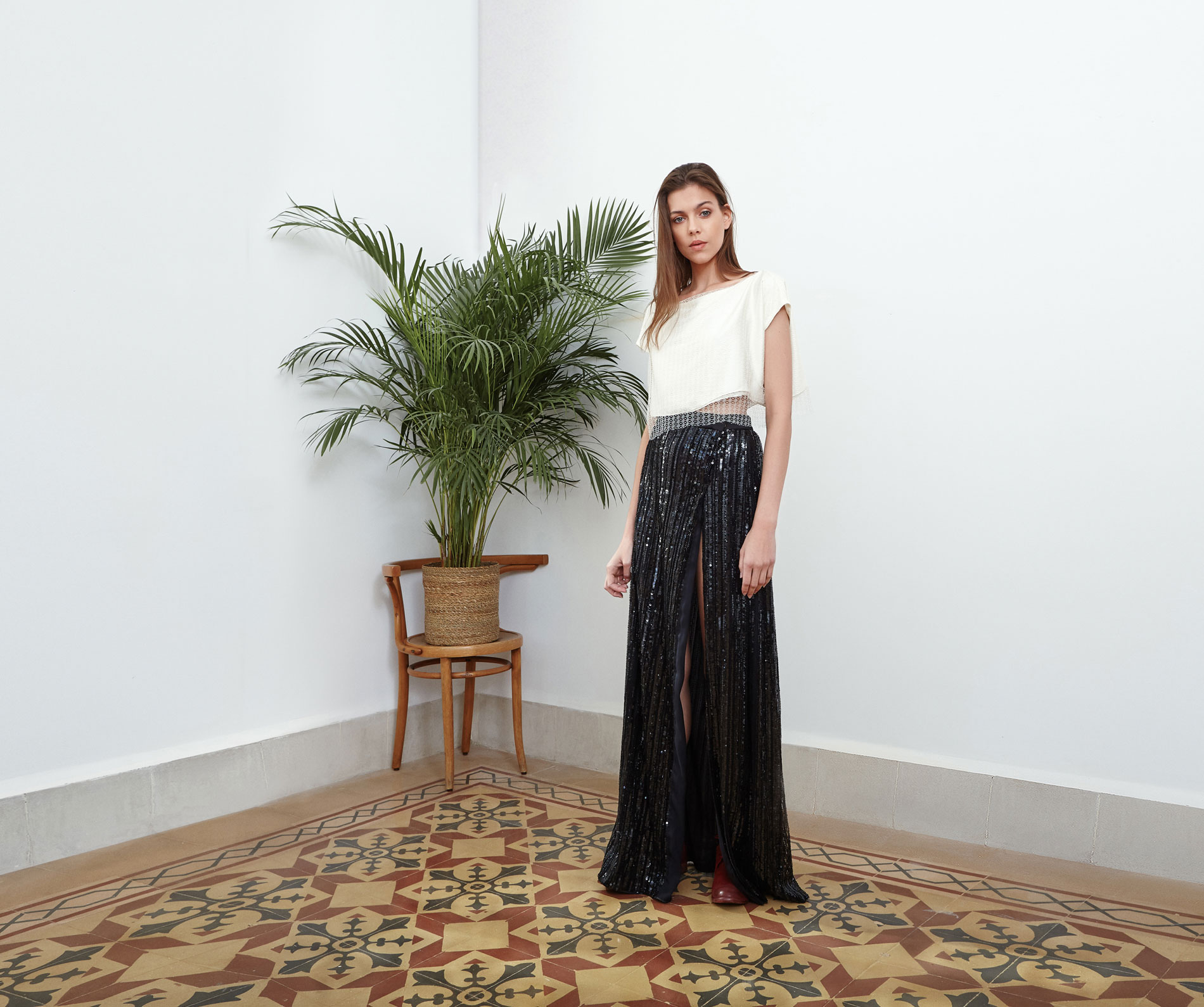 Lara Khoury | Eudemonia Spring 2019 | look 17 | White Silk and Lace Crop Top.jpg