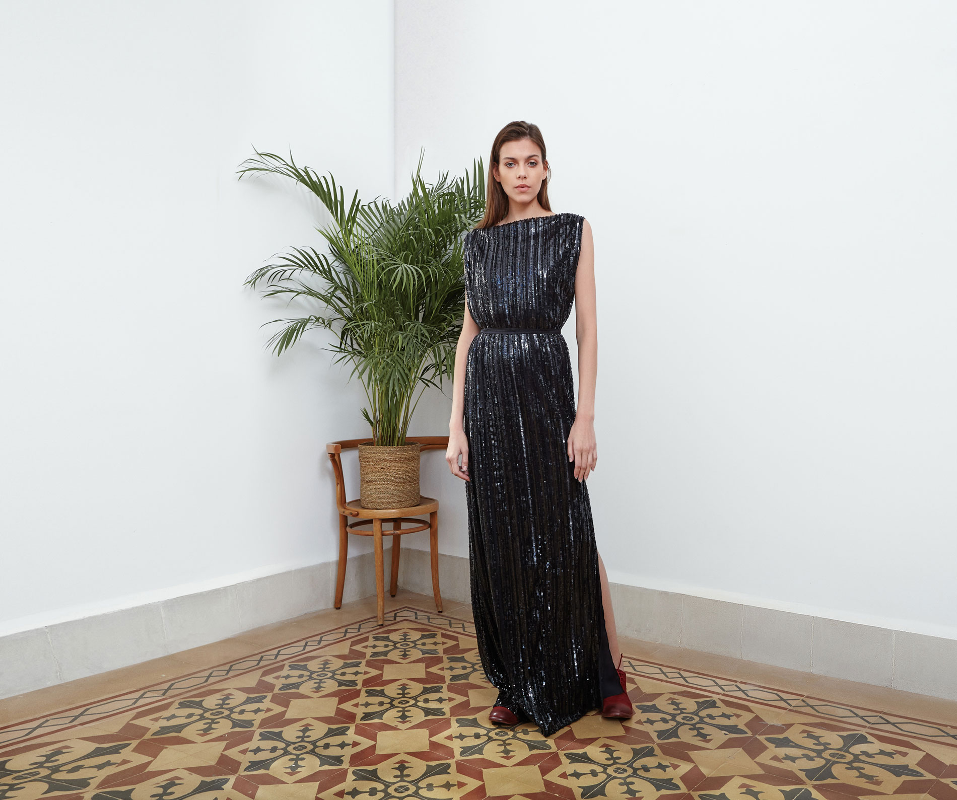 Lara Khoury | Eudemonia Spring 2019 | look 18-1 | Floor-Length Sleeveless Black Sequin Dress.jpg