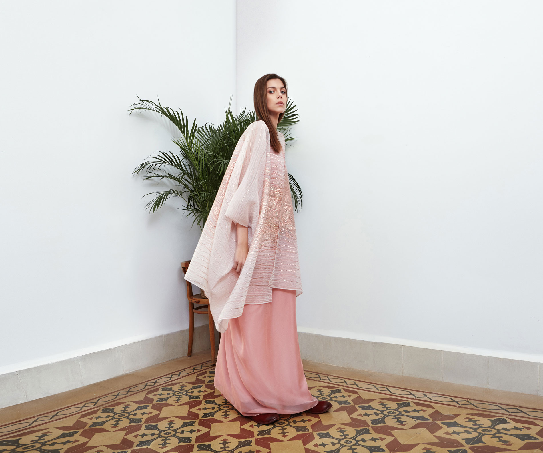 Lara Khoury | Eudemonia Spring 2019 | look 19-1 | Oversize Yarn Embroidered Pink Silk Top.jpg