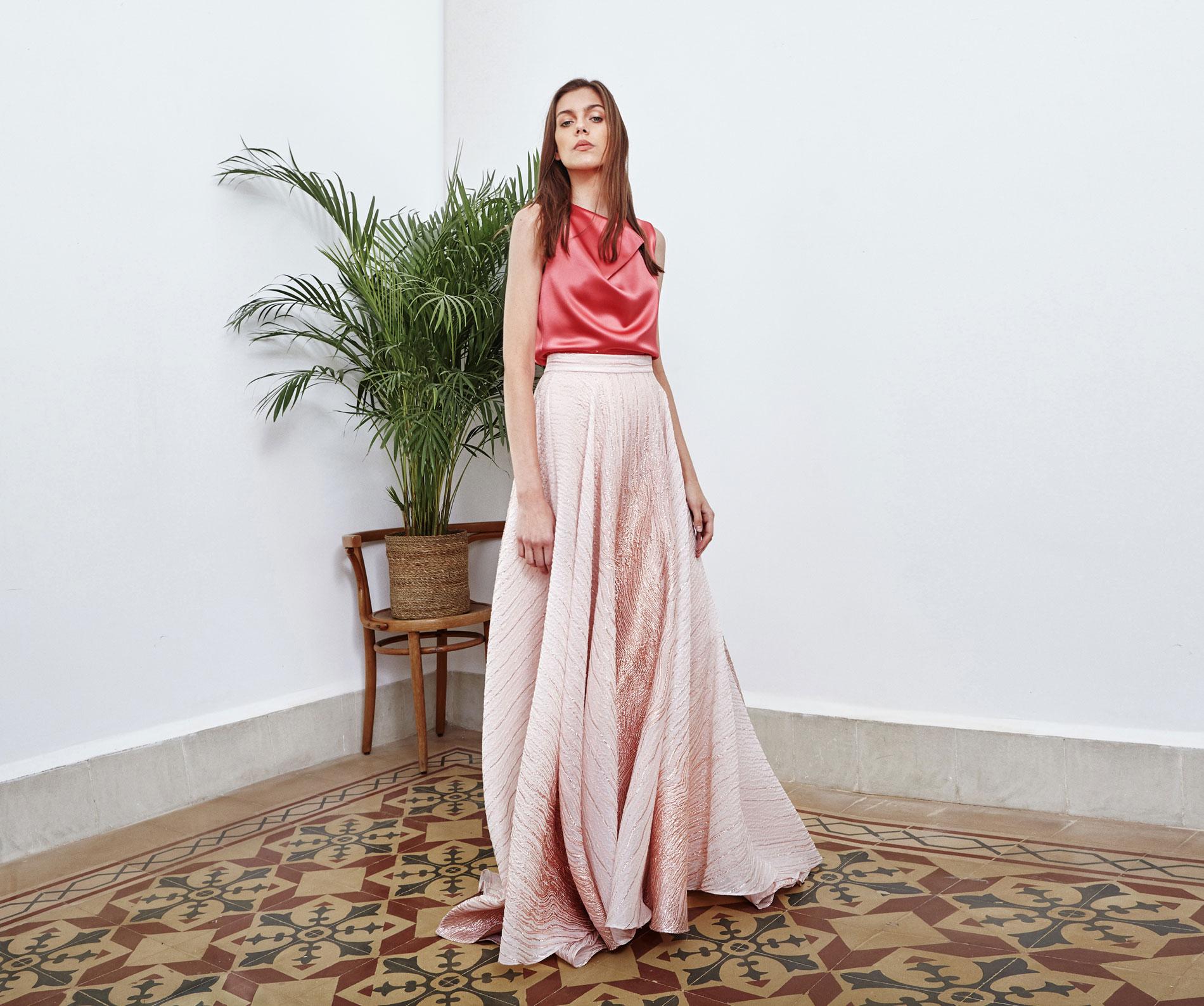Lara Khoury | Eudemonia Spring 2019 | look 22 | Coral-Pink Silk Satin Cowl Neck Top.jpg